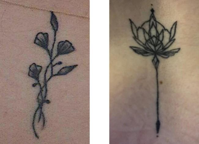 deux tatouages fin en forme de fleurs
