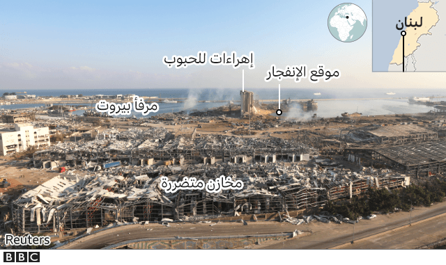 صورة تظهر موقع الانفجار، المصدر Reuters-BBC