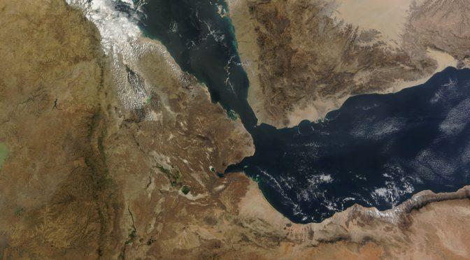 Carte vue du ciel du détroit de bab EL Mendeb
