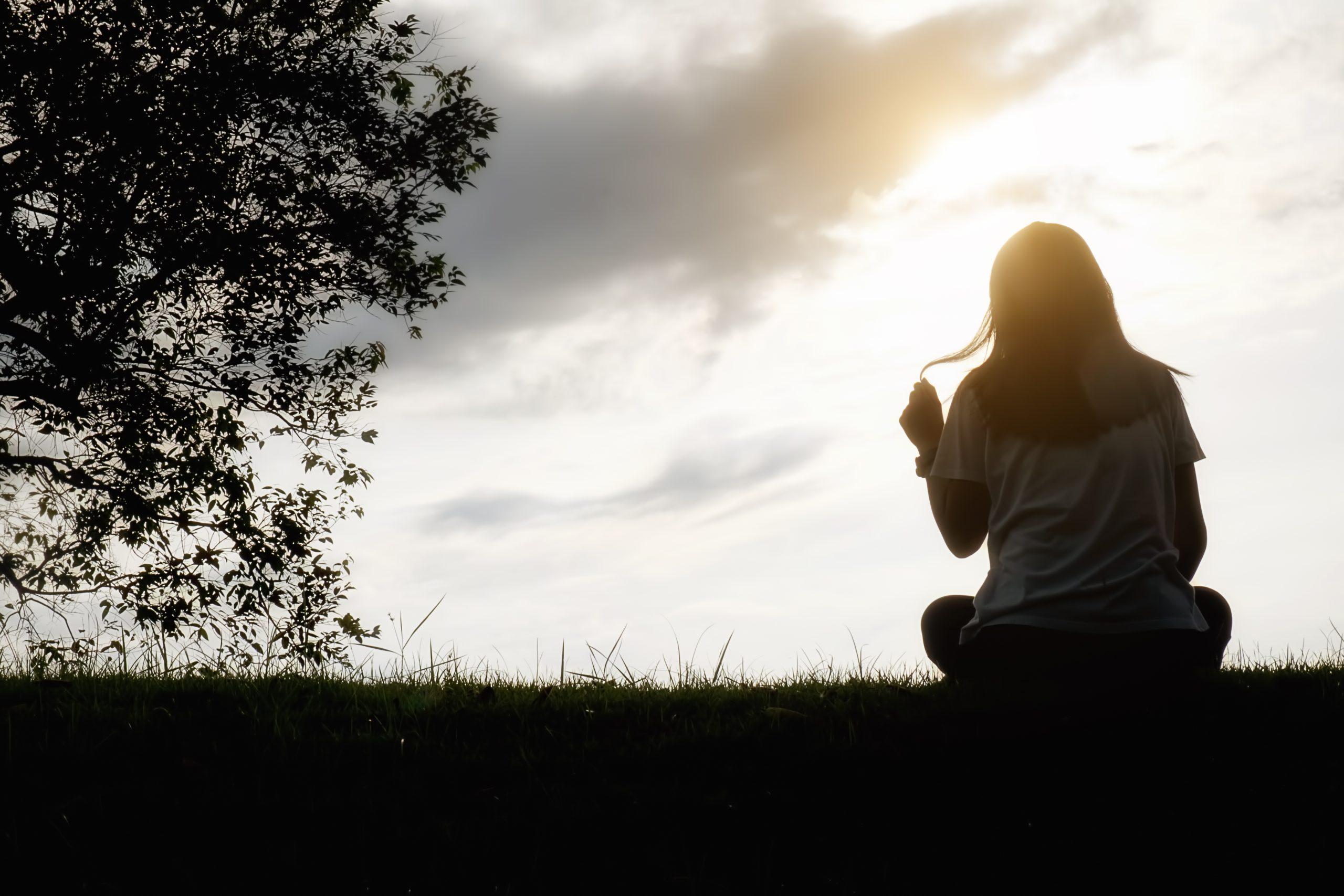 فتاة تجلس في البرية مع غروب الشمس